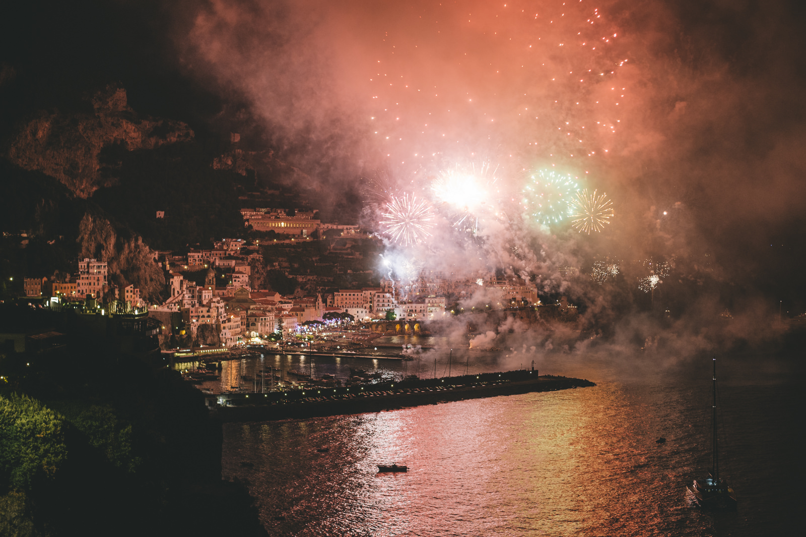 fireworks on the amalfi coast