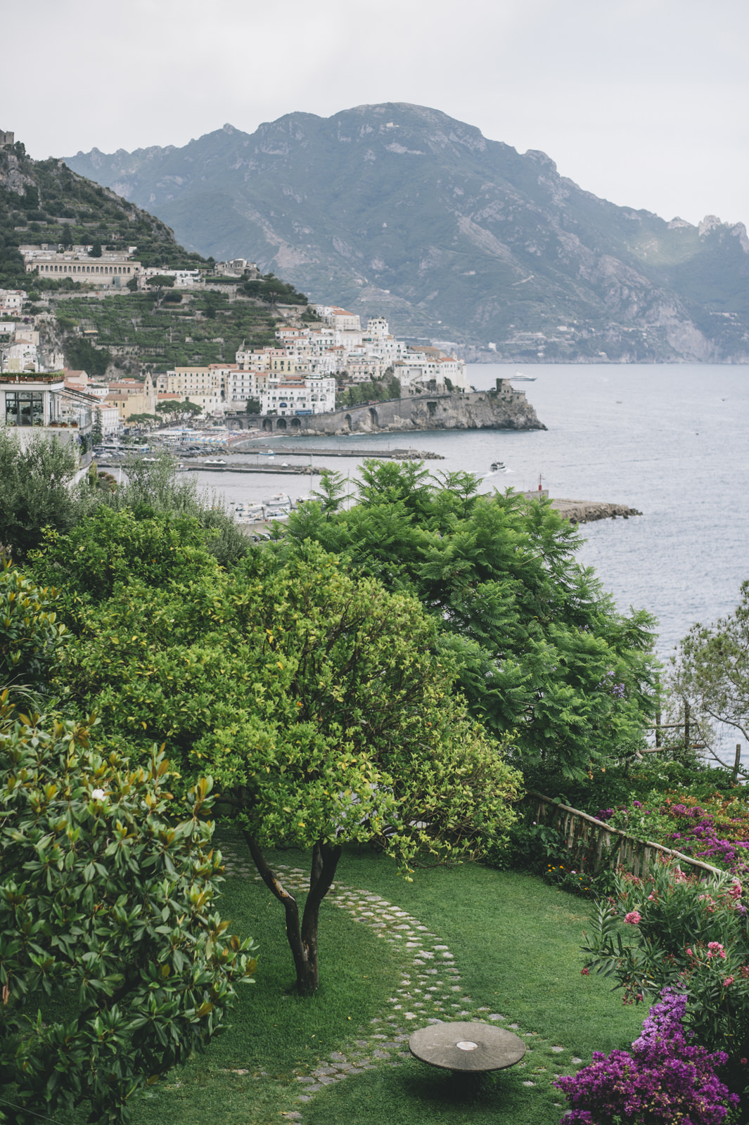 a view of the amalfi coast from the garden of the hotel santa caterina in amalfi