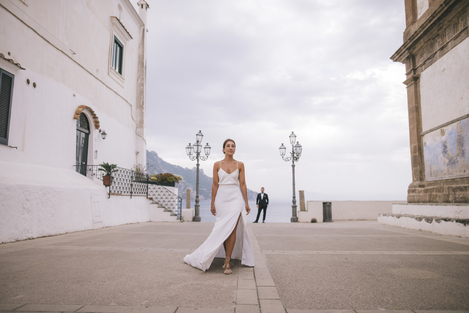 the bride walking