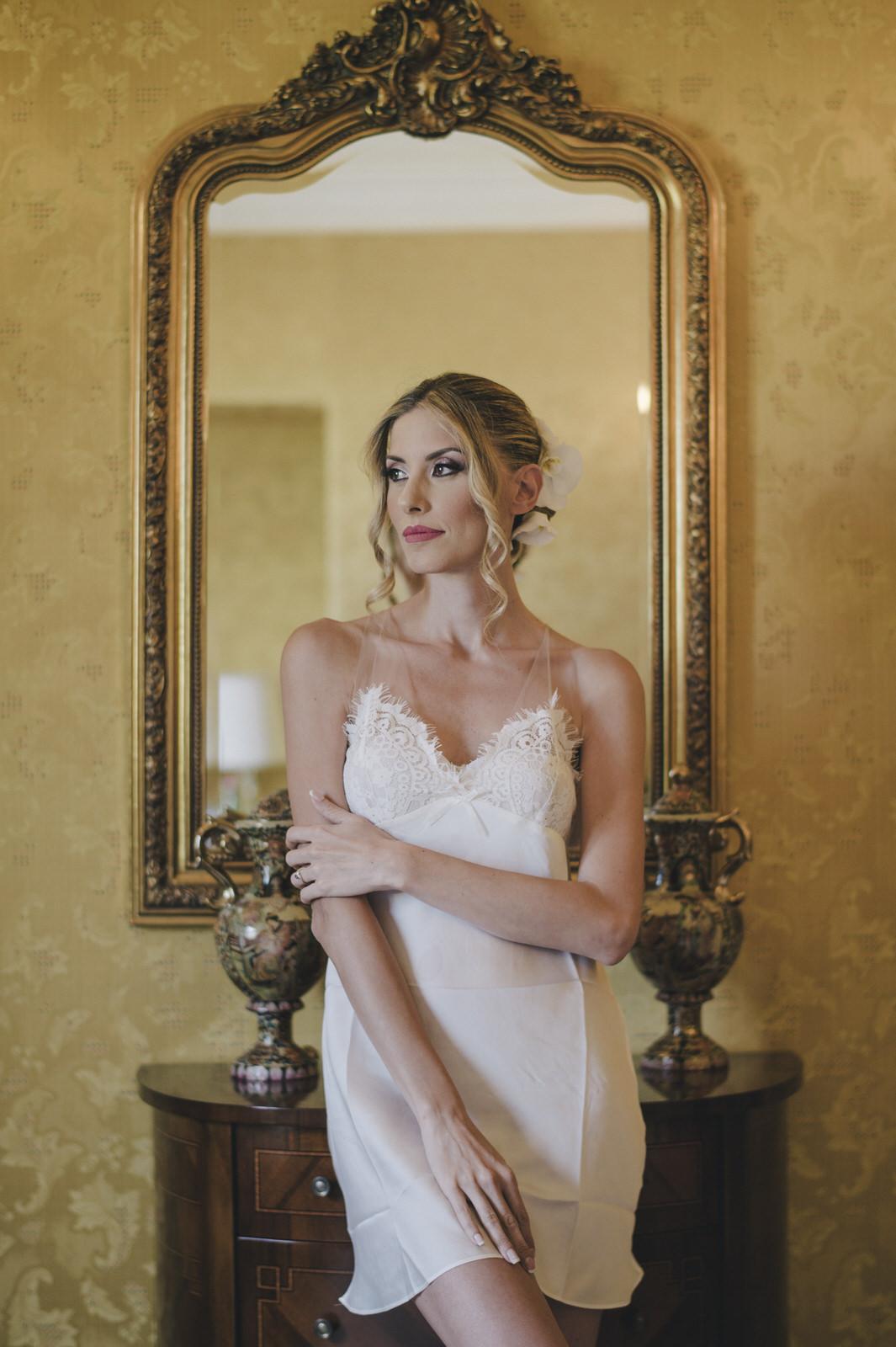 bride's portrait with a mirror behind