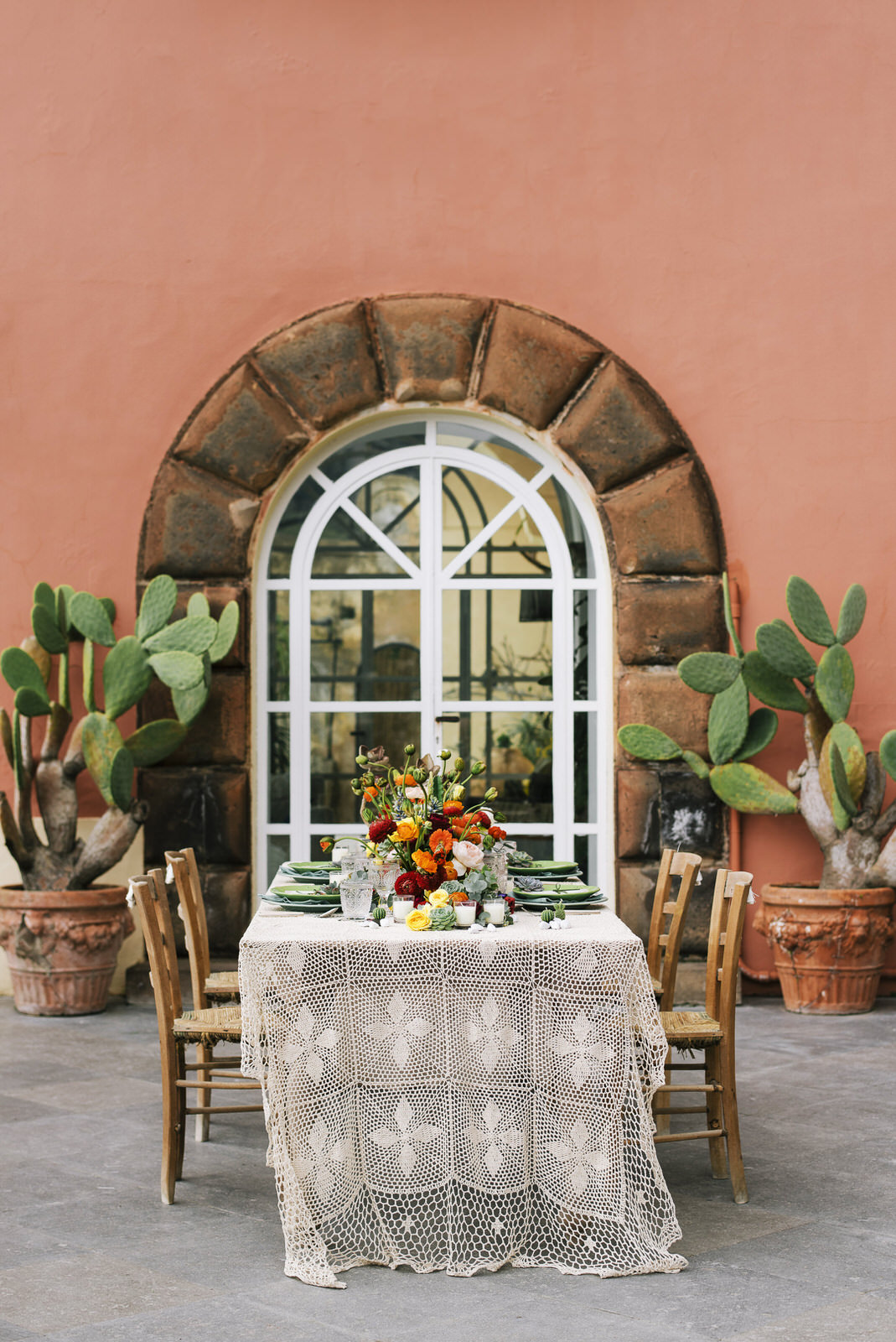 exotic wedding table with big cactus on the background