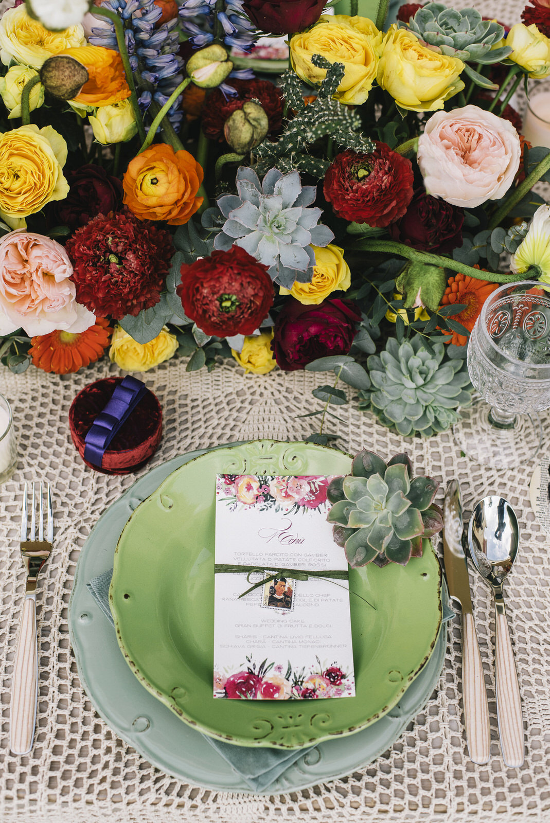 frida inspired table set with menu