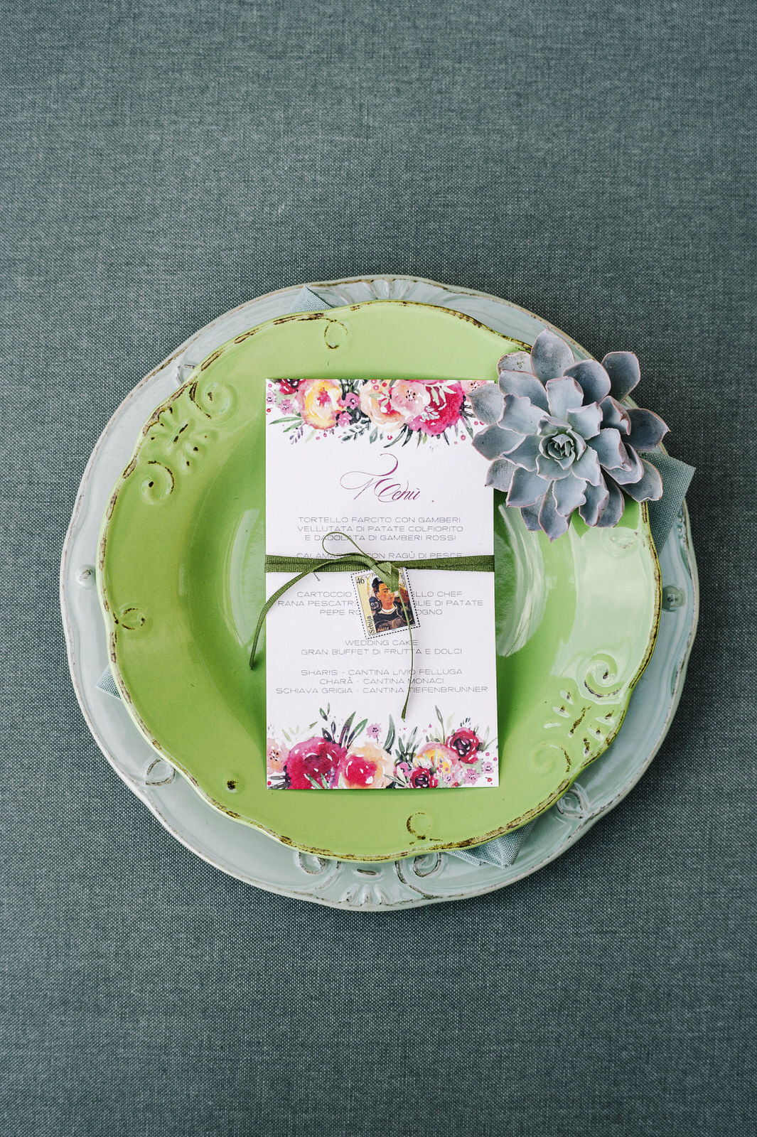 frida insprired menu in green and light blue dishes