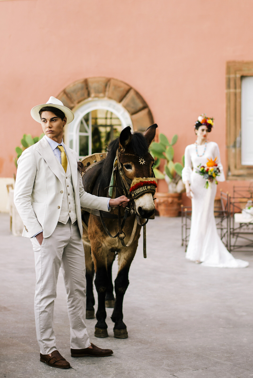 the groom with a mule and the bride on the background